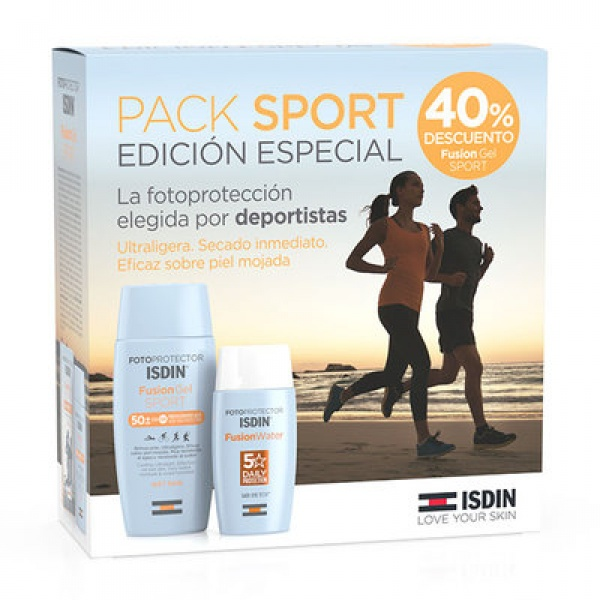PACK SPORT FOTOPROTECTOR ISDIN FUSION WATER 50+ 50ML + FUSION GEL WET SKIN 50+ 100ML